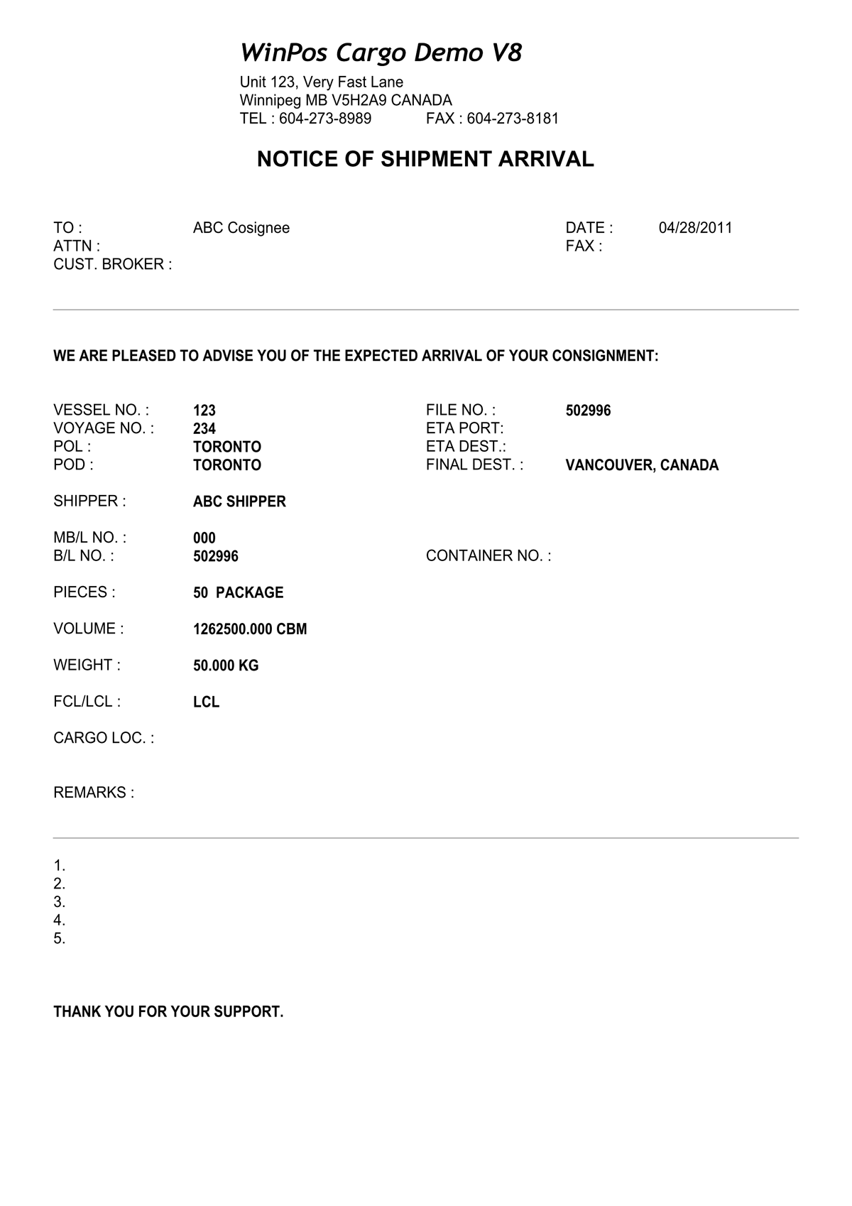 export invoice template
